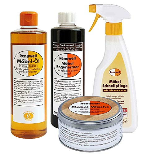 Renuwell Möbel Öl 500 ml + Regenerator 500 ml + Wachs 500 ml + Schenllpflege 500 ml Spar-Set