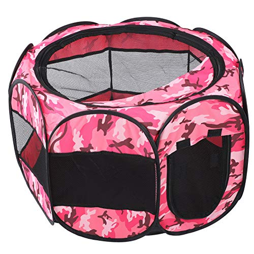 Chanmee Pet Playpen, Portable Open Air Foldable Dog Playpen, for Dog Cat(S, XBD95 color camouflage)