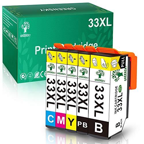 GREENSKY 33XL 33 XL Tintenpatrone kompatibel für Epson Expression Premium XP-530 XP-540 XP-630 XP-635 XP-640 XP-645 XP-830 XP-900 XP-7100 (5 Pack)