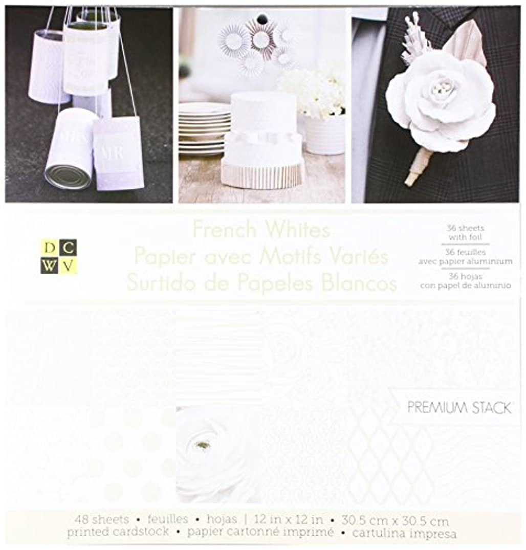 American Crafts 12 x 12 Inch French Whites Foil 36 Sheets Die Cuts with a View Stacks