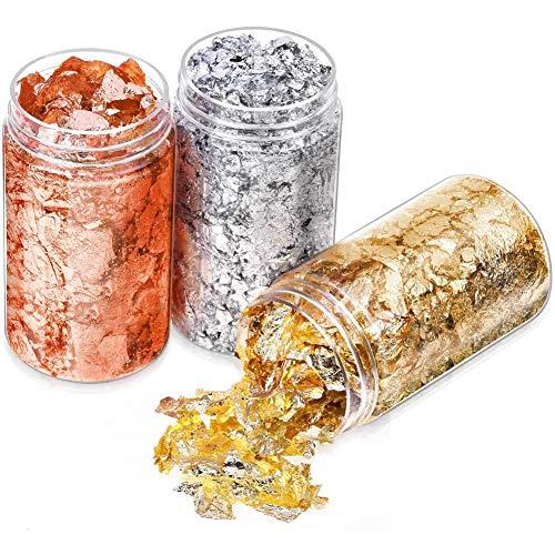 Leezo - 3 botellas de hojas metálicas de aluminio, copos de imitación...