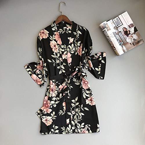 Handaxian Damen Schlafanzug Satin Seide Home Service Lace Gown Brustpolster Pink Weiß 3-teiliges Set Robe schwarz L