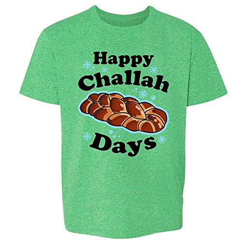 Pop Threads Happy Challah Days Funny Hanukkah Heather Irish Green M Youth Kids Girl Boy T-Shirt