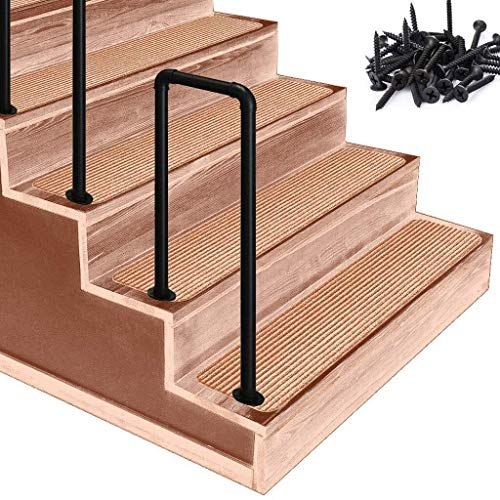 DJSMfs Treppengeländer, U-förmig, Übergangs-Handlauf, Industrie-Handlauf, Schmiedeeisen, Treppengeländer, für ältere Menschen, Kinder, rutschfeste Armlehne, 4steps