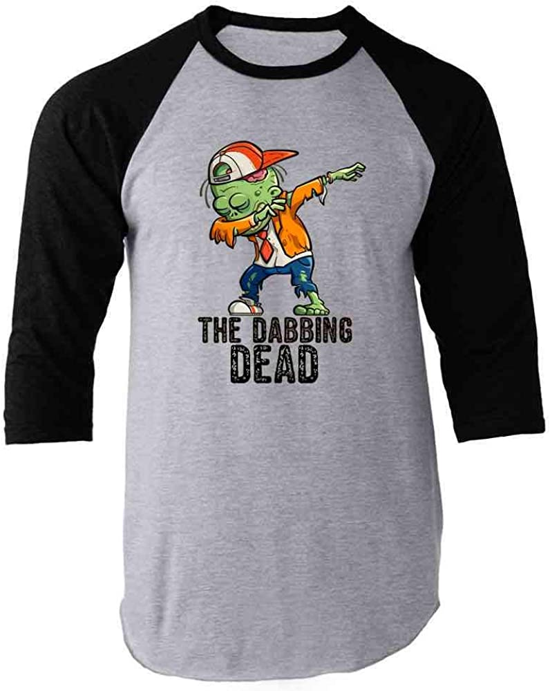 Pop Threads The Dabbing Dead Zombie Funny Halloween Raglan Baseball Tee Shirt