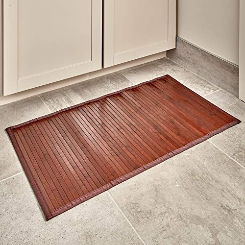 Price comparison product image iDesign Bamboo Floor Mat,  Extra Small Bath Mat Made of Natural Bamboo,  Eco-friendly Rug made for Bathroom,  Kitchen and Hallway,  Dark Brown