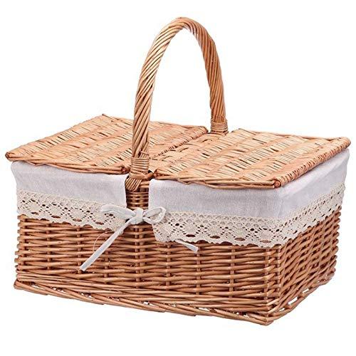 Fltaheroo Cesta de picnic práctica de estilo pastoral cesta de almacenamiento de tela decorativa cesta de flores para el hogar al aire libre B