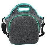 Hibala Neoprene Lunch Tote Bag For Women&Men-With Zipper-Keeping Food Cold/Warm 4 Hours-12.5' x 12.5' x 6.5' inch-Outdoor Work Travel Picnic Lunch Handbags (Dark Grey)