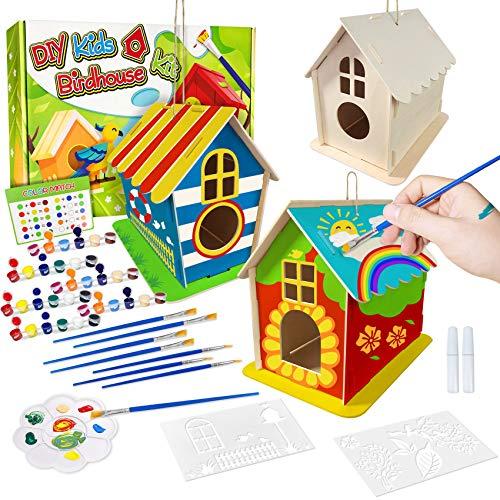 DIY Vogelhaus Bausatz für Kinder, Spielzeug Geschenke für Alter 3 4 5 6 7+ Jahre alt Jungen Mädchen, 3 Stück Super große Basteln Holz Vogelhaus zu Bauen und Malen, Holz Vogelhaus Puzzle machen Set