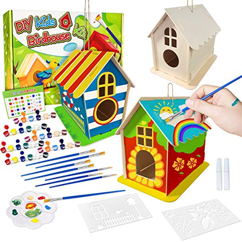 Heyzeibo 3D DIY Birdhouse Painting Kit for Kids Ages 4-12 - Painting Crafts Art Kits Build and Paint Your Own Birdhouse for Girls Boys