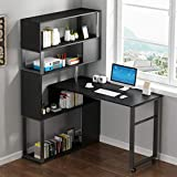 LISMENT New L-Shaped Corner Home Desk, Rotating Computer Table with 5-Story Bookshelf, L-Shaped Corner Computer Desk for Used in Wall Corners or Windows