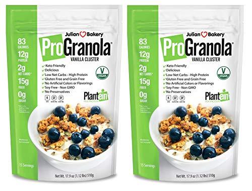 Julian Bakery ProGranola Cereal Vegan | Vanilla Cluster | 12g Protein | 2 Net Carbs | Gluten-Free | Grain-Free | 2 Pack