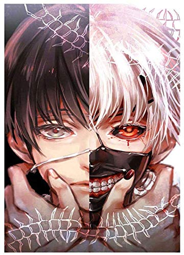 5D Diamond Painting Kits for Adults DIY Premium Tokyo Ghoul Diamond Art Full Drill Cross Stitch Kit for Beginners with Pattern Wall Decor 12' X 16'