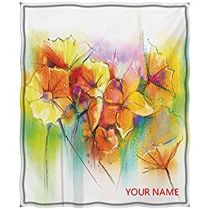 Flower Throw Blanket, Vibrant Colored Autumn Bouquet Withtypes of Blooms Daffodil Fragrant Image Print DIY Blanket, Ultra Softness and Smothness Like Silk, Multicolor W60 by L80(to Figure Custom)