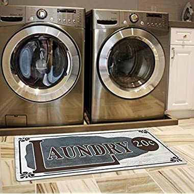 USTIDE Vintage Newly Style Non Skid Floor Mat Laundry Room Mat for Wash Room 2x4 (Grey)