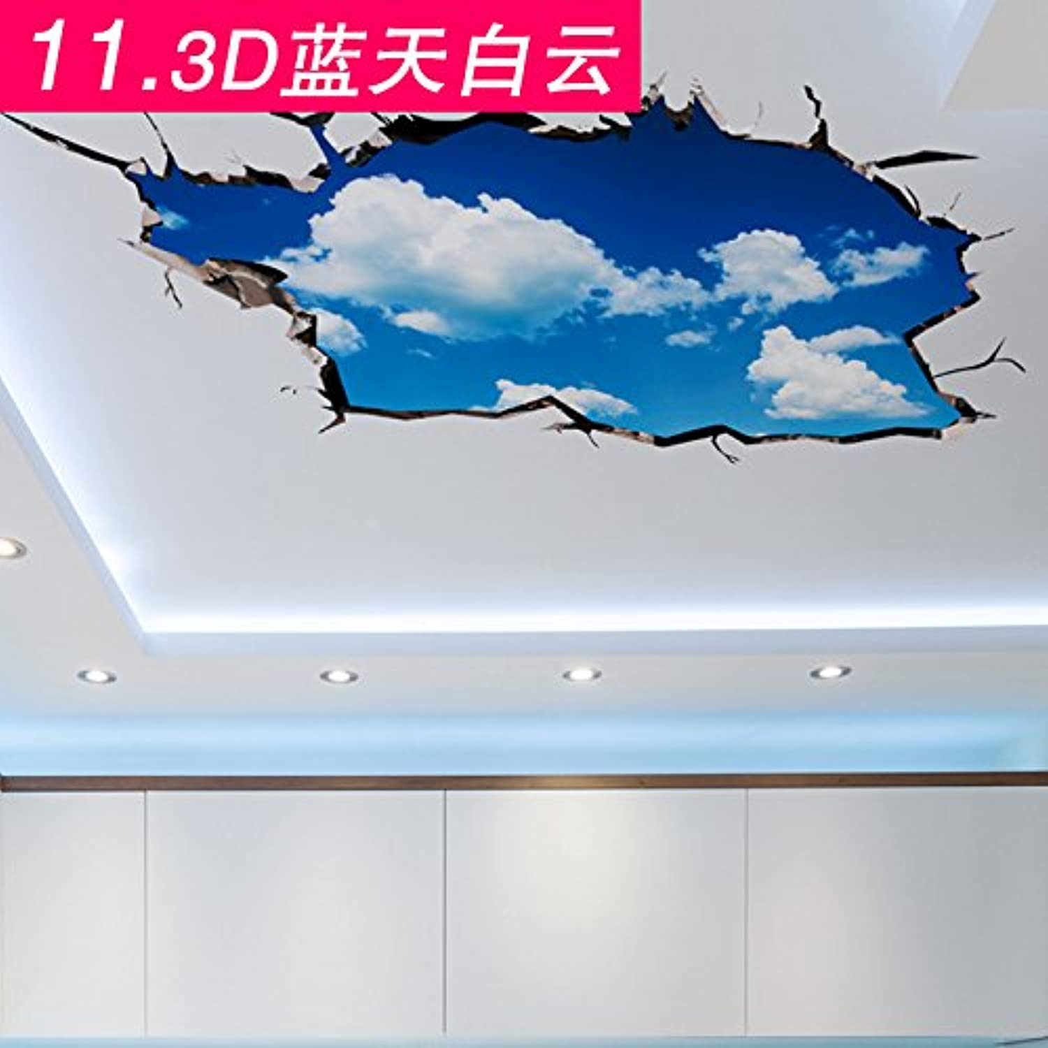 Znzbzt Bathrooms are Decorated Floor Sticker Wall Art Tile Waterproof wear Wall Mount, White Clouds in bluee Sky