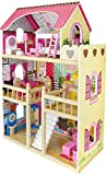 Leomark Casa de Muñecas de Madera - Bella Residencia - Equipo Completo, con muñecas, Excelente Calidad, Accesorios adicionales Color Rosa