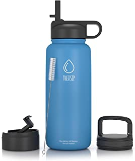 32oz Stainless Steel Water Bottle, Extra Three Lids ~ Straw, Flip Carabiner Caps ~ Double Walled & Vacuum Insulated, BPA Free