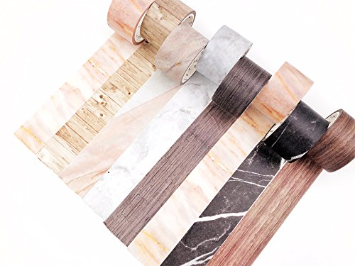 Washi Tape Set 8 Rolls Decorative Washy Wood Grain & Marble DIY Tape for Crafts Art Projects Scrapbooking, Gift Wrapping