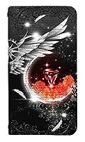 [LG style2 L-01L] ベルトなし スマホケース 手帳型 ケース エルジースタイル2 8255-C. 紅宝石の羽 かわいい 可愛い 人気 柄 ケータイケース ゴシック