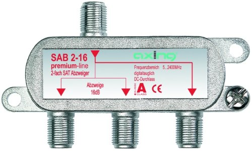 Axing SAB 2-16 Derivatore satellitare e tv digitale terrestre 2uscite derivate con attenuazione 16 dB (5-2200MHz) con passagio DC
