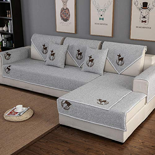 YUTJK Sofa Cover, Sofa Slipcover Chair Loveseat Settee Sofa Couch Furniture Cover Protector for Dogs Cats, Cotton Linen Woven Sofa Cover, For spring autumn, Grey 1