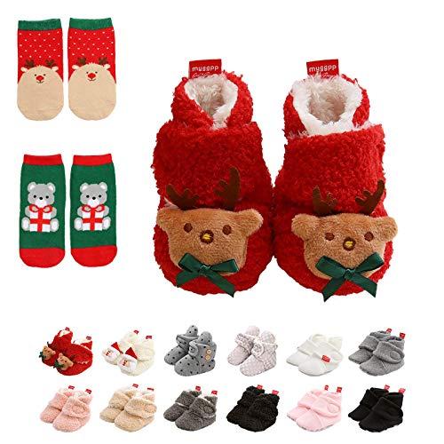 Botines de Bebé,Invierno Suave Algodón Unisexo Antideslizante Bebé Zapatos Navidad Primero Cumpleaños Regalo …