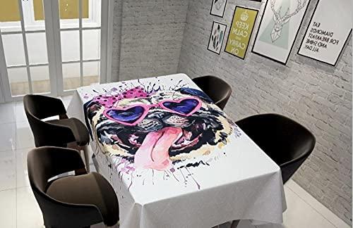 Manteles Rectangular -Perro Pintado - Impermeable Lavable Manteles, Prueba De Aceite Manteles para Bodas Fiesta Buffet Navidad Cumpleaños Restaurante , La Decoración del Hogar 140*140Cm