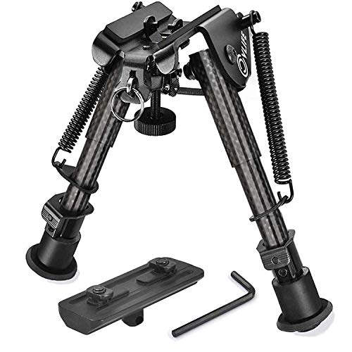CVLIFE Carbon Fiber Rifle Bipod with Mount Adapter 6-9 Inches for Hunting and Shooting