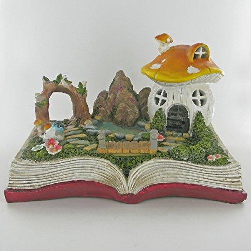 Fairy Garden UK Sculpture fantaisie pour lutin lutin en forme de maison champignon sur livre magique