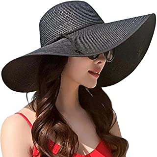 Lanzom Womens Wide Brim Straw Hat Floppy Foldable Roll up Cap Beach Sun Hat UPF 50+