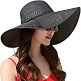 Lanzom Womens Wide Brim Straw Hat Big Floppy Foldable Roll up Cap Beach Sun Hat UPF 50+ (Style B-Black)