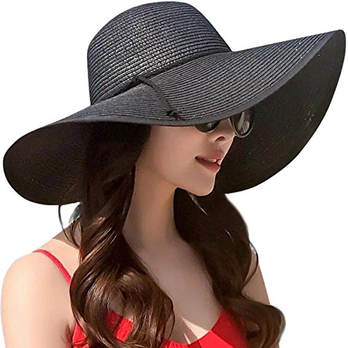 Lanzom Womens Wide Brim Straw Hat Floppy Foldable Roll up Cap Beach Sun Hat UPF 50+ (Style B-Black)
