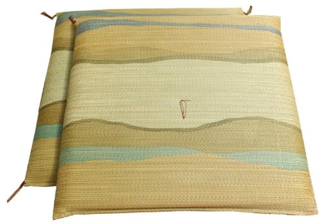 作家効能ある請うイケヒコ い草 座布団 国産 捺染返し 『利休 2枚組』 ブラウン 約55×55cm×2P