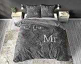 SleepTime Bettwäsche Baumwolle Mr. and Mrs. 3, 200cm x 220cm, Mit 2 Kissenbezüge 60cm x 70cm, Grau