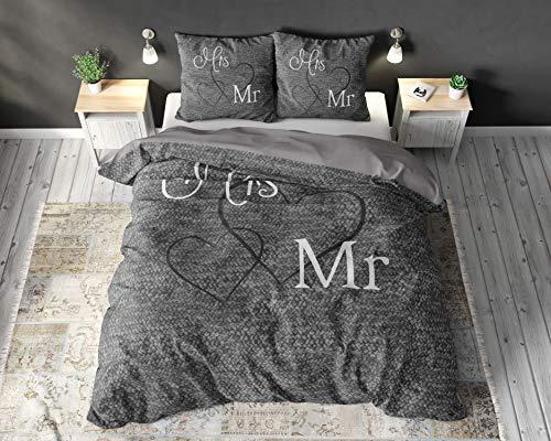SleepTime Funda Nórdica Algodón Mr. and Mrs. 3, 240cm x 220cm, 2 Personas, Cama 150/160, con 2 Funda De Almohada 60cm x 70cm, Gris
