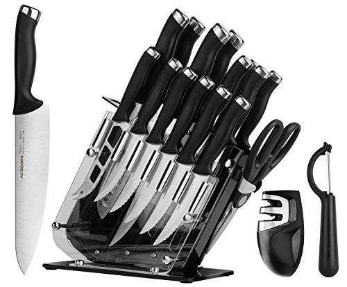 ACOQOOS Juego de cuchillos con hojas de precisión, acero inoxidable, mangos ergonómicos, base de acrílico, 18 piezas, con cuchillo Santoku y pelador