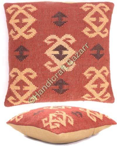 Handicraft Bazar Set aus 2 Jute-Kissen, Überwurf, handgewebt, Vintage-Stil, Ethno-Kissen, Jute, quadratische Kissen,...