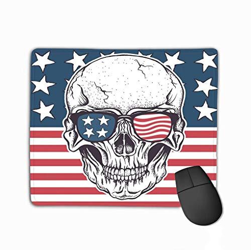 Family Mouse Pad, Rechteck Rechteck Rutschfeste Gummi Mousepad American Skull Sonnenbrille USA Flag Pink Geometric