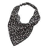 Harilla Moda mujer Bandana elástico suave Bohemia banda para el cabello estampado Headwear Head Wrap bufanda para el cabello accesorios para el cabello - Negro