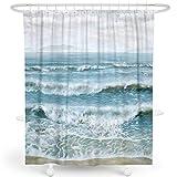 LIVETTY Stoff Duschvorhänge Badezimmer Vorhang mit Ölgemälde des Blaus & Weiß Ocean Beach Nautische Dekorative Meereswellen 180x180 cm, Haken enthalten