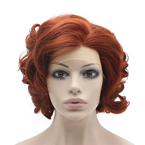 Mxangel Swiss Lace Front Short Curly Burgundy Red Cosplay Party Wig Synthetic