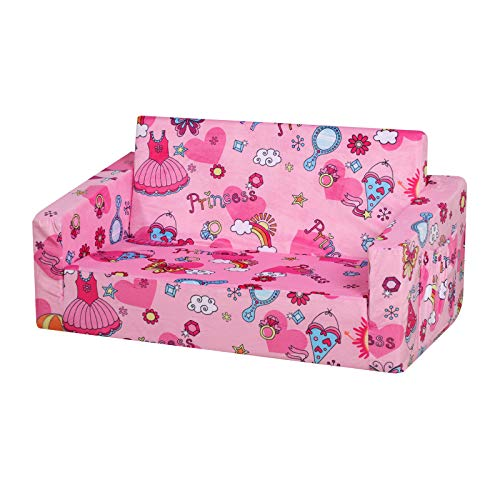 Kid Sofa Couch, Double Seat 2 in 1 Flip Open Children Foam Sofa for Ideal Kid Gift (Pink)