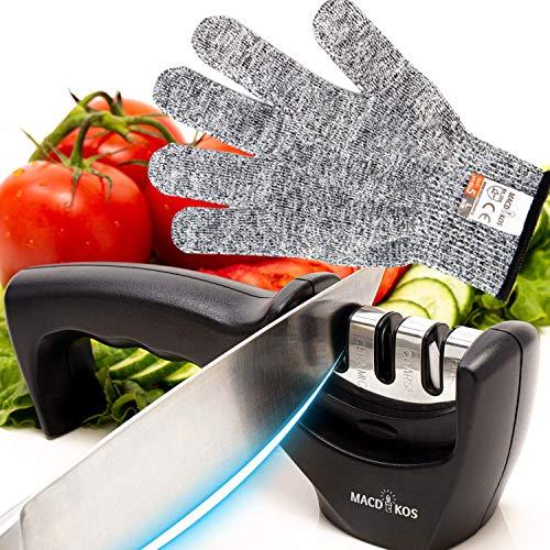Macdikos Afilador de cuchillos de cocina con guantes protectores | Afilador de cuchillos profesional 3 en 1 con base antideslizante | Tijeras duraderas y afiladores de cuchillos