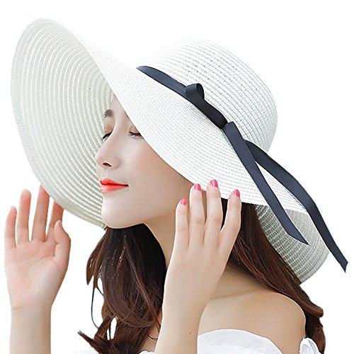 Itopfox Women's Big Brim Sun Hat Floppy Foldable Bowknot Straw Hat Summer Beach Hat Milky