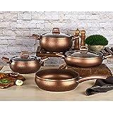 Compatible con todos los hornos, apto para lavavajillas, juego de utensilios de cocina de granito y...