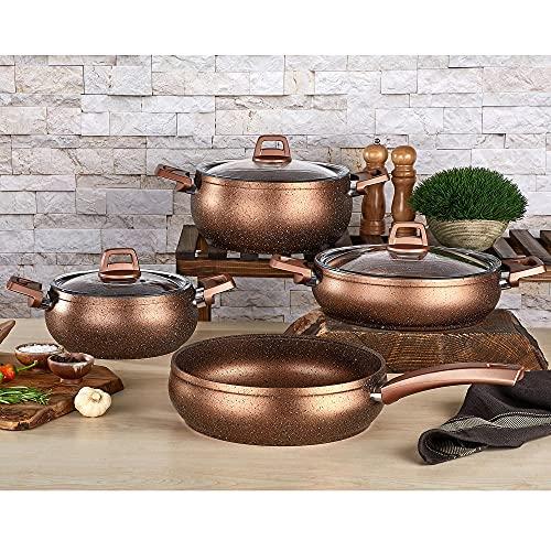 Compatible con todos los hornos, apto para lavavajillas, juego de utensilios de cocina de granito y hierro fundido (7 piezas,...
