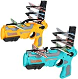 2 pcs Bubble Catapult Plane Toy Airplane Catapult Plane Shooting Game Toy for Kids One-Click Ejection Model Foam Airplane with 8 Pcs Glider Airplane Launcher Outdoor Sport Toys