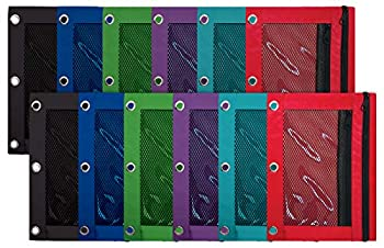 3 Ring Pencil Pouch 12 Pack with Mesh Window 2 Compartments Assorted Colors