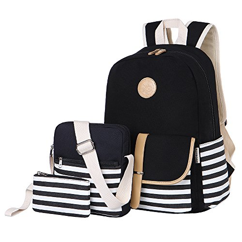 BLUBOON Teens Canvas Backpack Girls School Bags Set Bookbags Shoulder bag Pouch 3 in 1
